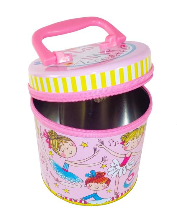 Hair accessories pink ballerina storage tin