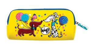 Childrens yellow cats and dogs pencil case