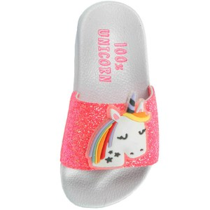 Girls unicorn white and dark pink sparkly slider