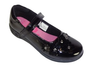Girls black patent school shoes with flower trims