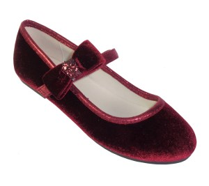 Girls dark red velvet ballerina party shoes
