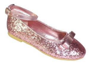 Girls dusky pink glitter ballerina shoes