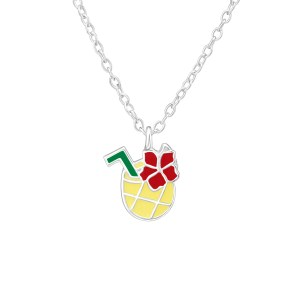 Girls sterling silver and epoxy colourful pineapple necklace