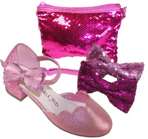 Girls pink glitter heeled party shoes and bag gift set