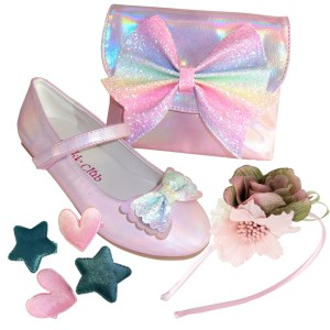 Pale pink sparkly ballerina shoes, matching bag and hair sets