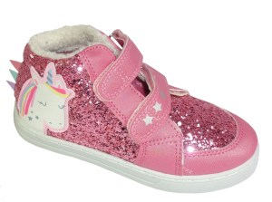 Girls pink glitter Unicorn high top trainers
