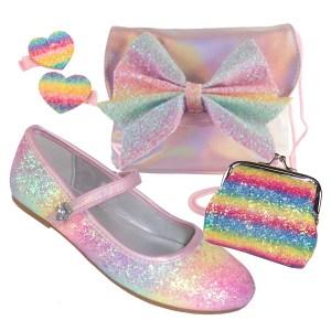 Girls pink rainbow glitter ballerina shoes, bag and accessories set