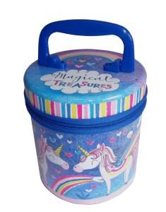 Childrens colourful Unicorn zipped storage tin