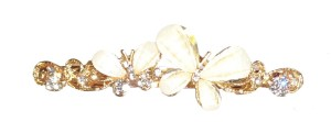 Girls gold diamante and butterfly hair clip
