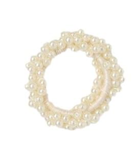 Girls ivory pearl effect hair scrunchie