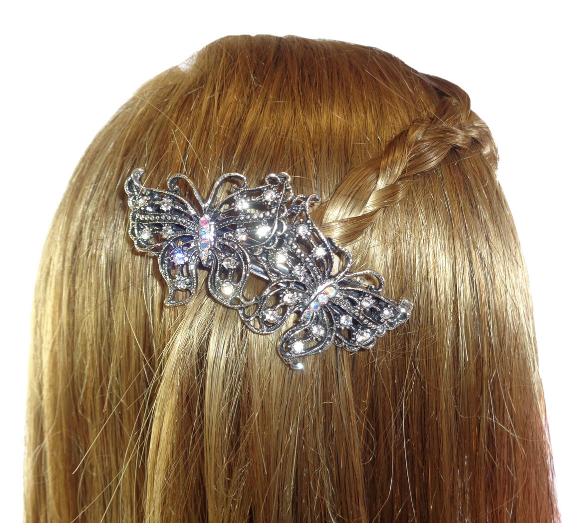4224 Sparkly butterfly barrette hair clip