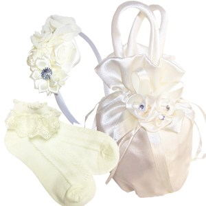 Flower girls ivory satin bag,socks and headband set
