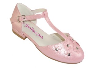 Girls pink sparkly low heeled t-bar party shoes