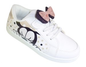 Girls white sparkly Minnie Mouse trainers