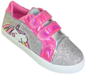 Girls sparkly unicorn glitter trainer with pink iridescent trim