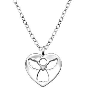 Girls Angel 925 Sterling Silver Necklace