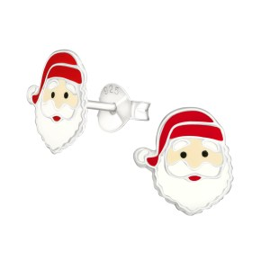 Girls Santa Claus 925 Sterling Silver Colourful Ear Studs