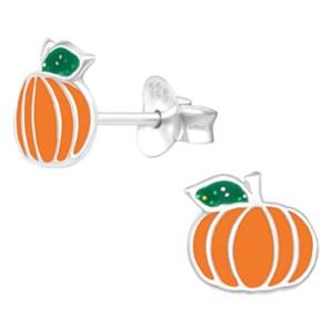 Girls Pumpkin 925 sterling silver stud earrings