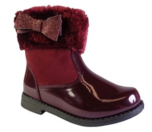 Girls burgundy ankle boots with fur collar and glitter bow