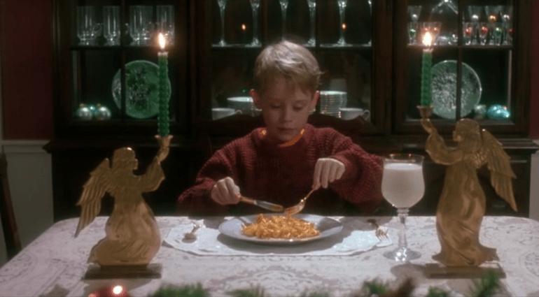 MacCaulay Culkin having Mac & Cheese with Milk in Home Alone