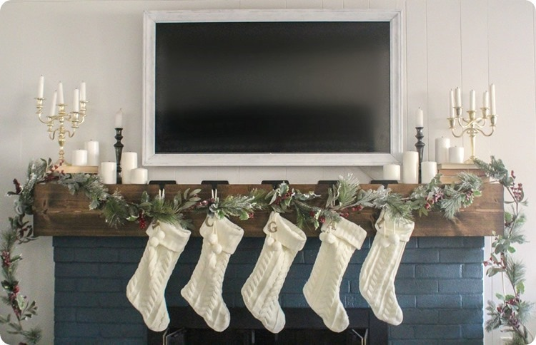 Christmas Movie with White Stocking & TV