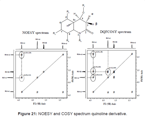 NOESY and COSY spectrum quinoline derivative