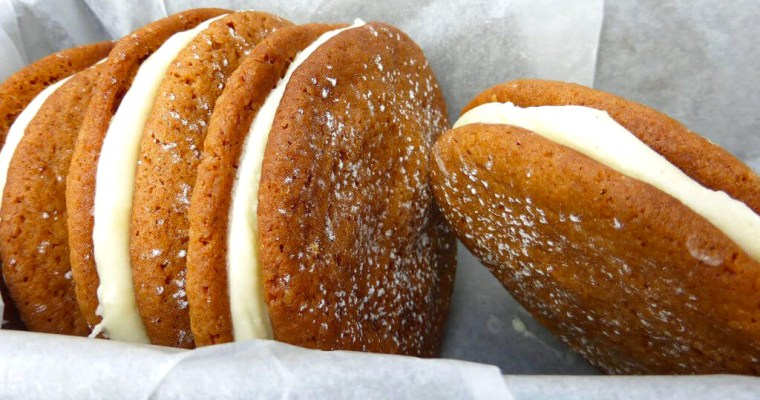 Spelt Ginger Cookies with Lemon Cream Cheese Filling