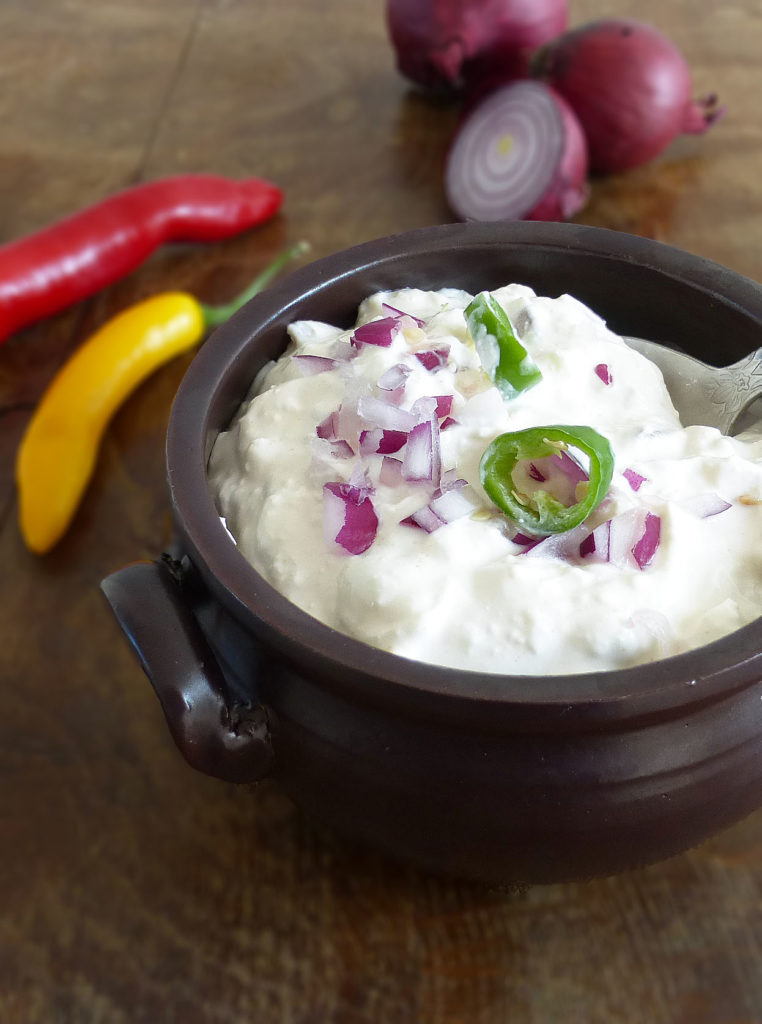 Greek Yoghurt Feta Dip with Red Onions and Green Chillies