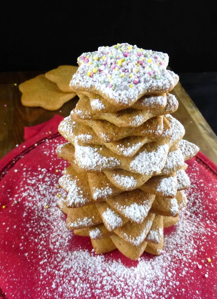 Christmas tree made out of gingerbread cookies
