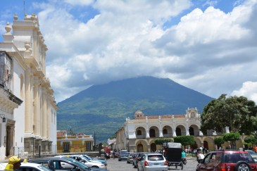 Volcan Agua looming over the square