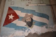 Mural of revolutionary hero Camilo Cienfuegos inside