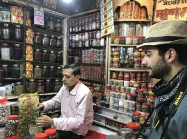 Alex buying some chai mix at the spice shop