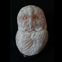Short Eared Owl, Himalayan salt sculpture | The Spice of Light