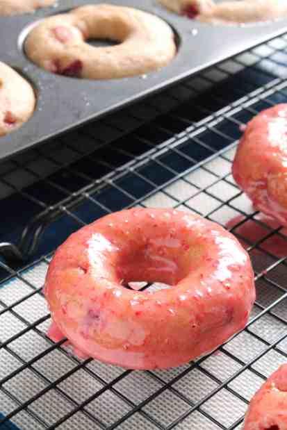 Baked Strawberry-Ginger Glazed Doughnuts 2