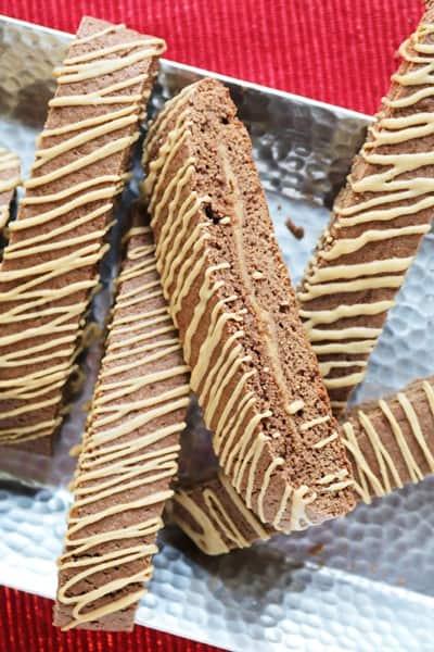 Peanut Butter Stuffed Chocolate Biscotti  by The Spiffy Cookie #chocolatebiscotti #recipe #thespiffycookie
