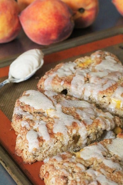 Peach Scones Topped with Brown Butter Glaxe