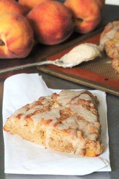 Brown Butter Glazed Peach Scones #peachseason