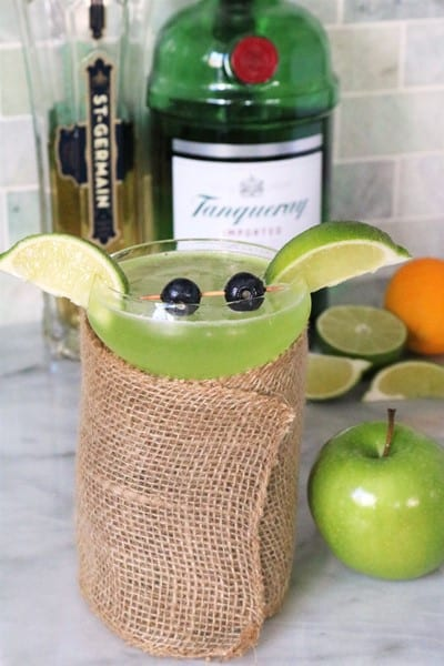 Baby Yoda Cocktail made with St. Germain and Gin