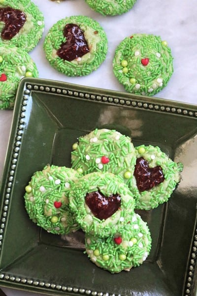 Grinch Heart Thumbprint Cookies #ChristmasCookies