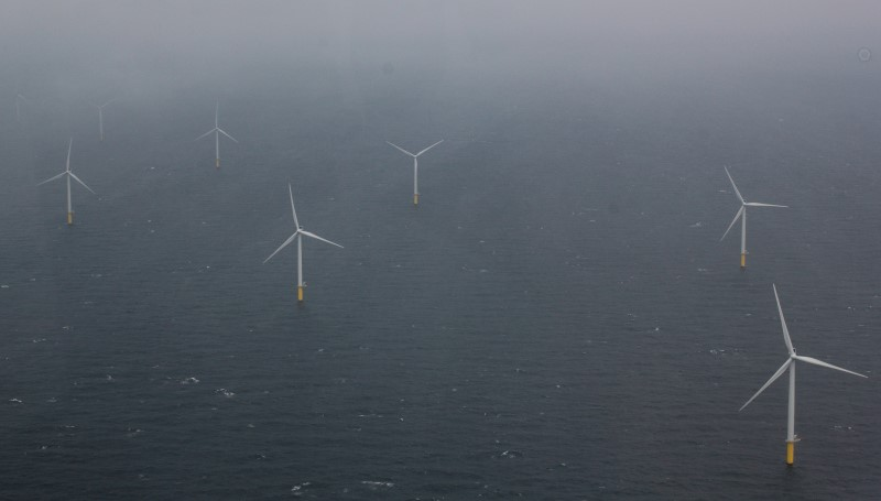 A wind mill park in the North Sea, about 20 kilometers off the coast