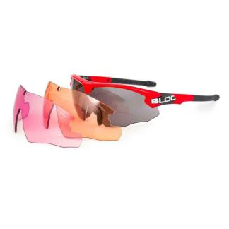 Bloc Hulk HB4 Shooting Safety Glasses with 3 Lenses Red Frame
