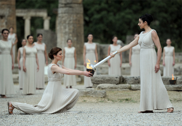 Olympic Flame for the London 2012 Games is lit in Ancient Olympia - Copyright London 2012.