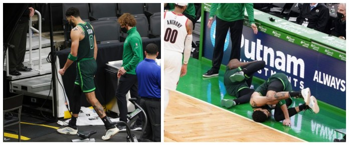 Celtics duo Jaylen Brown and Jayson Tatum injured after collision in loss against Trailblazers