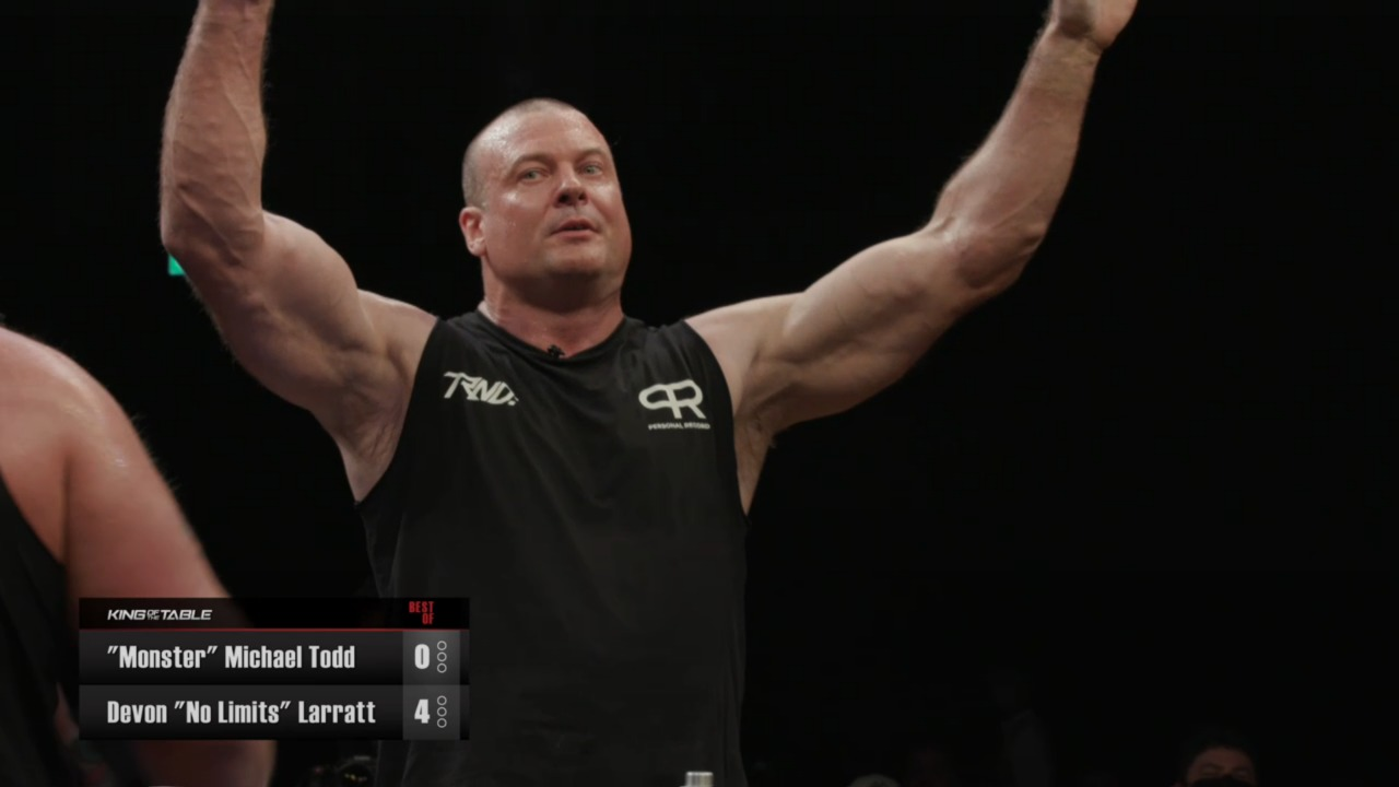 Devon Larratt defeats Michael Todd at King of the Table, Schoolboy makes easy work of Larry Wheels - THE SPORTS ROOM