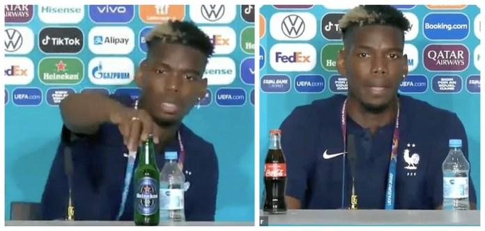 Paul Pogba mimics Ronaldo's press conference stunt; removes Heineken beer bottle away