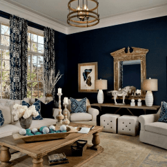 Blue Living Room With Dark Furniture French Interior Design Ideas