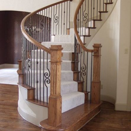 Add Metal Balusters Railings Or Posts To Your Stairs   Stair Posts And Spindles   Landing   Natural Hardwood   Rectangular   Traditional   Wood