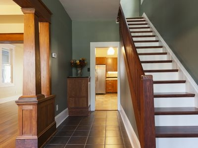 Tile To Wood Floor Transitions | Tile To Wood Stair Transition | Stair Nose | Flooring | Porcelain | Builder Grade | Threshold