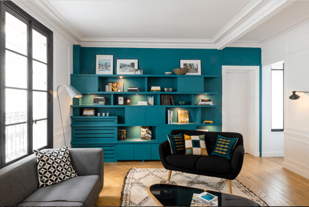teal accents living room color schemes brown leather furniture 16 rooms with accent walls built in shelving as a wall