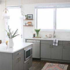 Gray Tile Kitchen Floor Corner Sinks 21 Ways To Style Cabinets